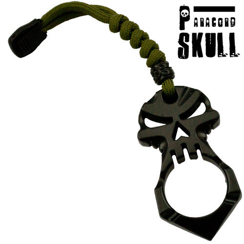 Black Skull Knuckle Keychain Survival Paracord Tool