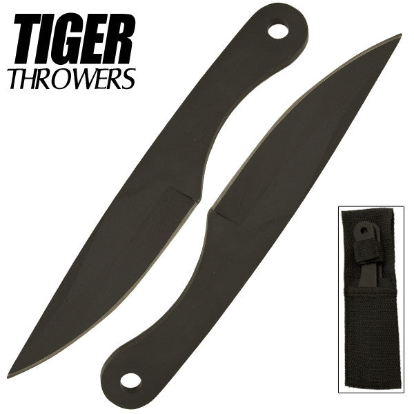 Two 6 Inch Tiger Throwing Knives - Black - 2, , Panther Trading Company- Panther Wholesale