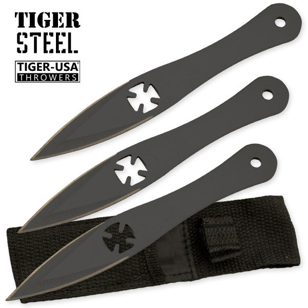 3 PC Tiger Steel Black Throwing Knife Set, , Panther Trading Company- Panther Wholesale
