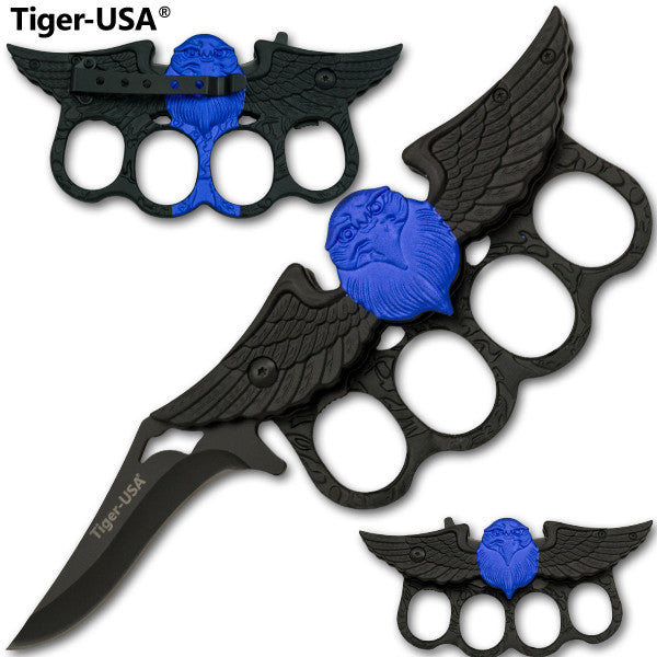 Black and Blue Eagle Trigger Action Knuckle Knife, , Panther Trading Company- Panther Wholesale