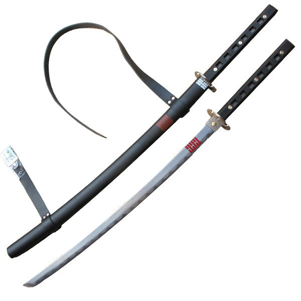 Black and Silver Katana Sword with Carrying Sheath, , Panther Trading Company- Panther Wholesale