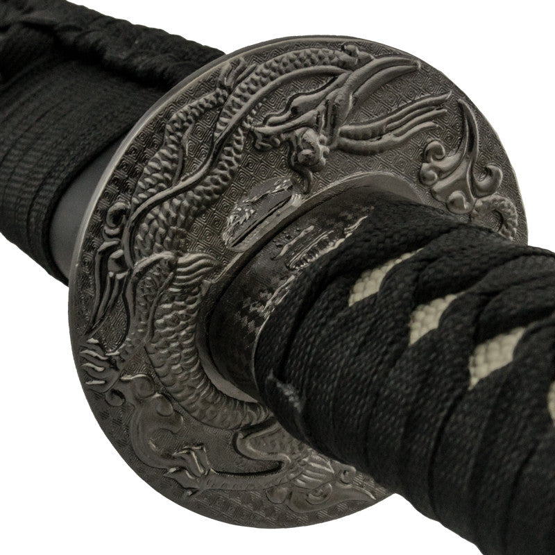 Black and Silver Katana Sword with Scabbard