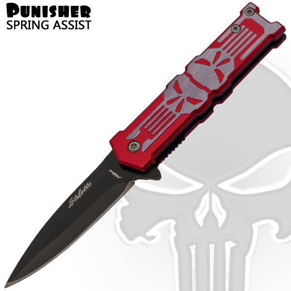 Blood Punisher With Red Finish and Skull - Trigger ActionBlade, , Panther Trading Company- Panther Wholesale