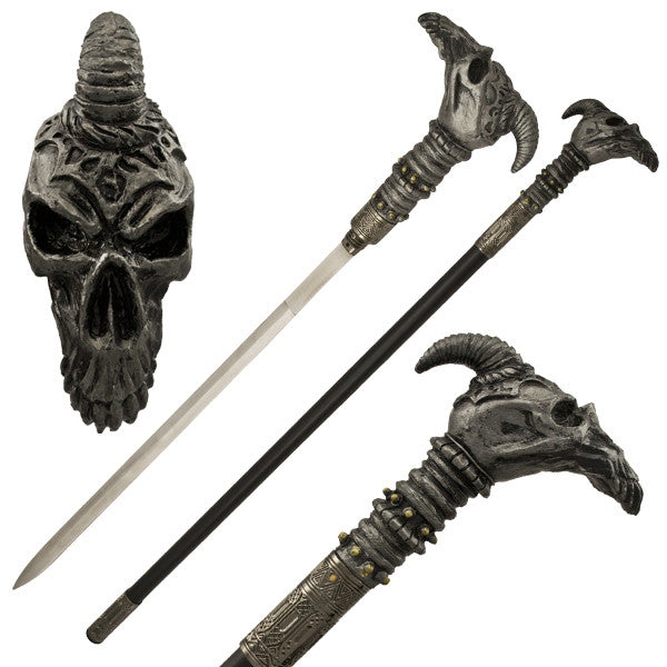 Skull Pterodactyl Walking Cane with Hidden Sword - Panther Wholesale