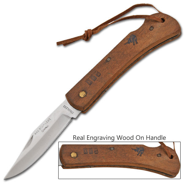 Navajo Steel Manual Folding Knife W/ Engravable Wood Handle, , Panther Trading Company- Panther Wholesale