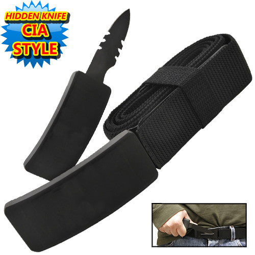 CIA Secret Agent Public Safety Belt Knife - Black Wood, , Panther Trading Company- Panther Wholesale