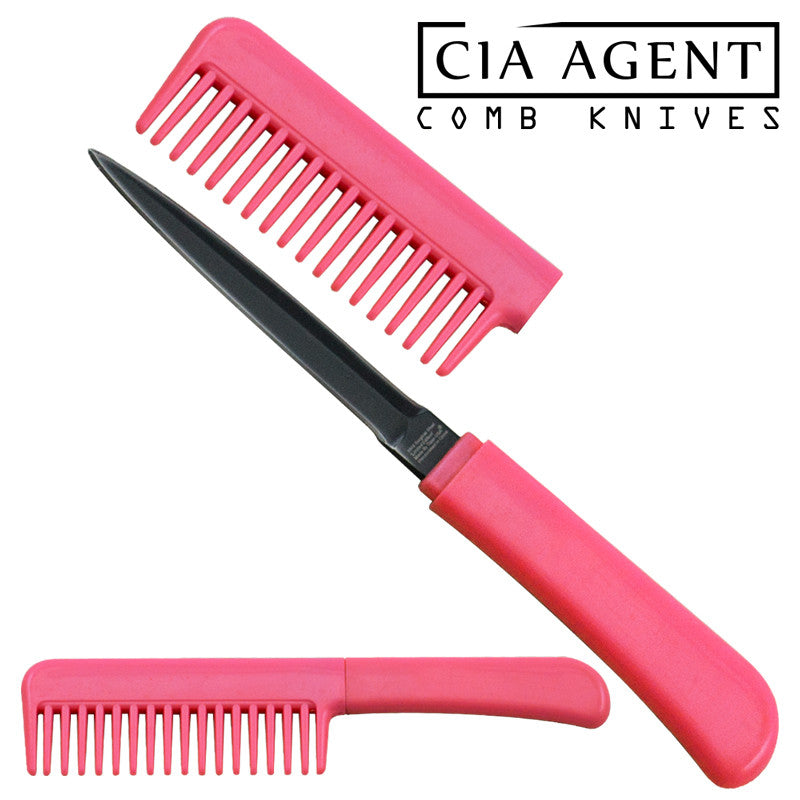 CIA Agent Comb Knife (Pink), , Panther Trading Company- Panther Wholesale