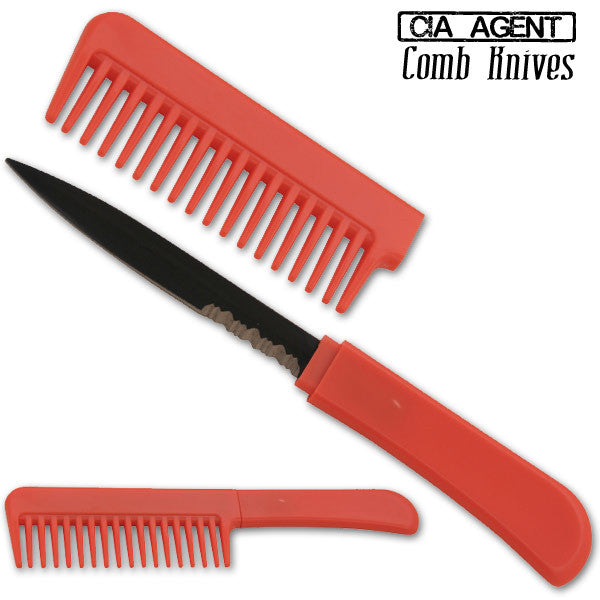 CIA Agent Comb Knife (Red), , Panther Trading Company- Panther Wholesale