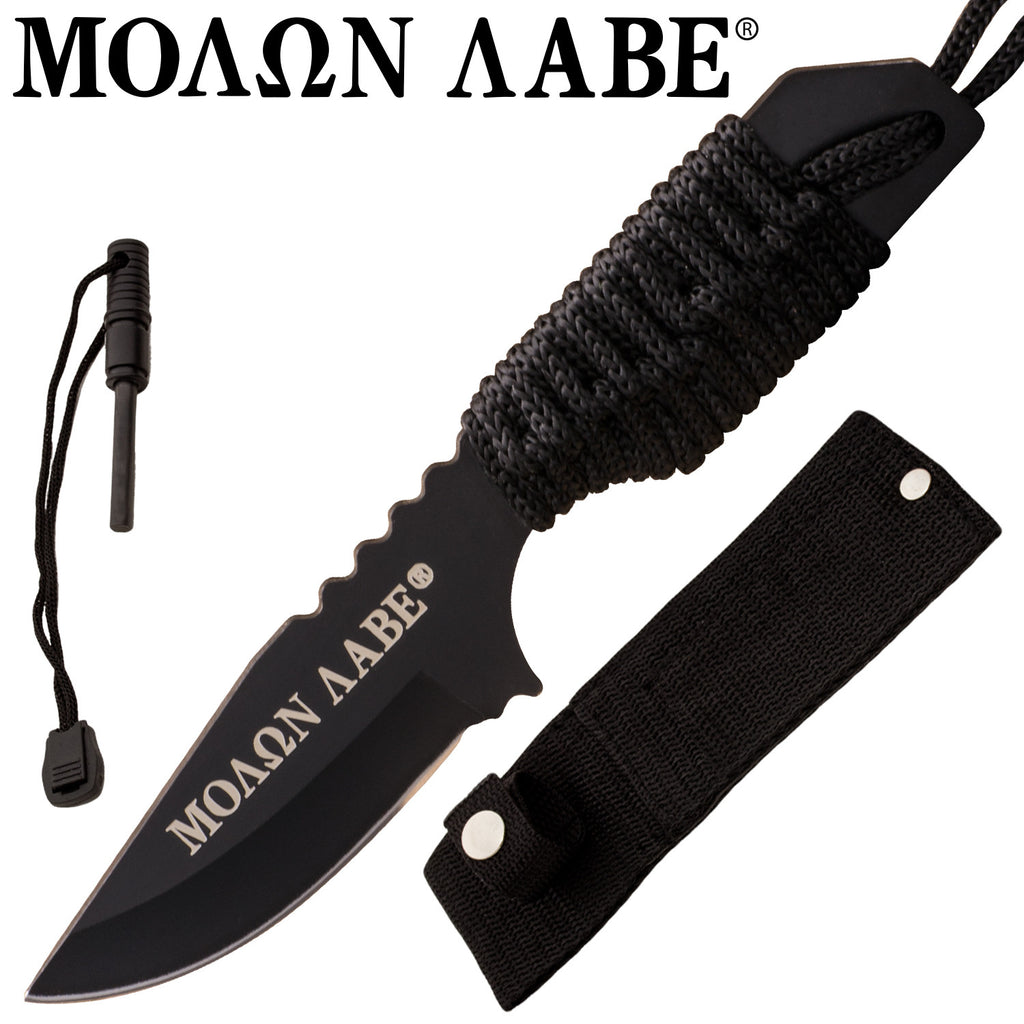 MOA  Firestarter Knife With Nylon Sheath and Paracord  (Black), , Panther Trading Company- Panther Wholesale