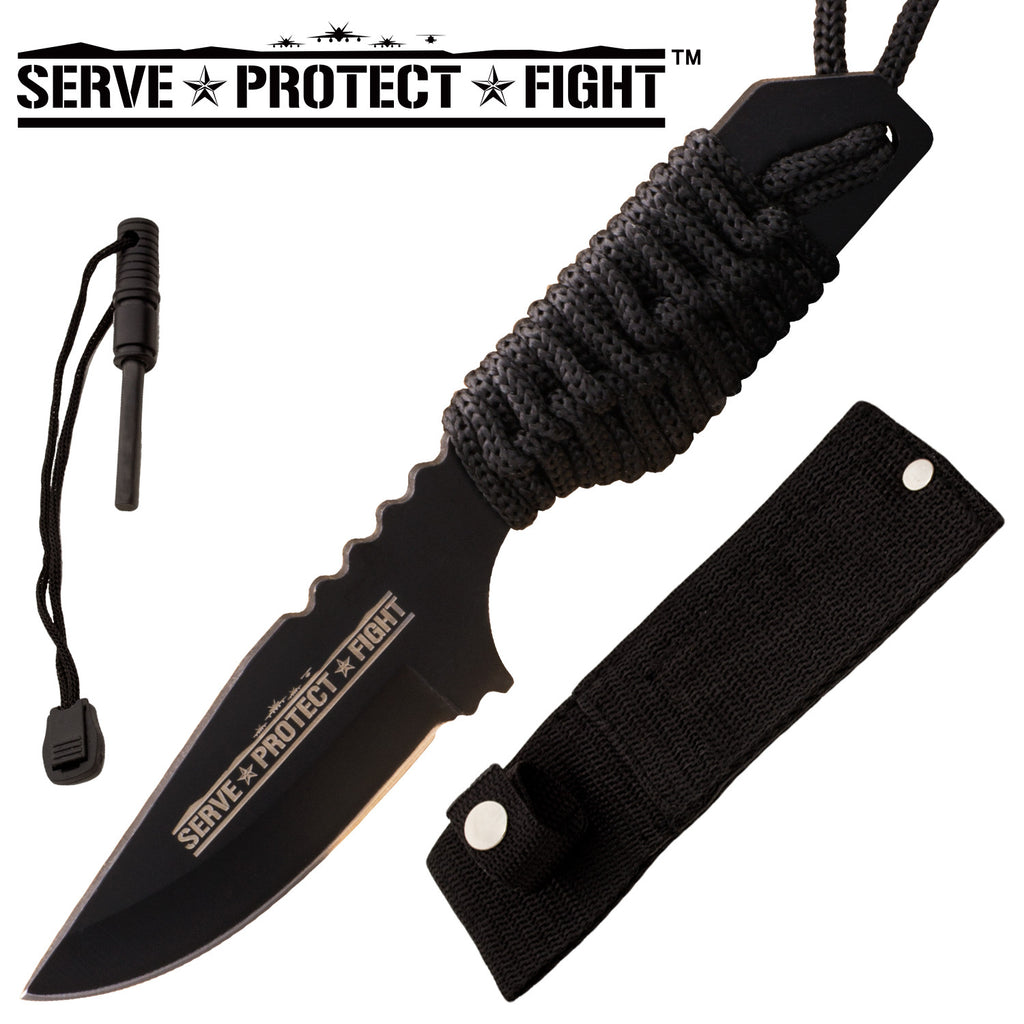Serve Protect Fight Firestarter Knife With Nylon Sheath and Paracord  (Black), , Panther Trading Company- Panther Wholesale