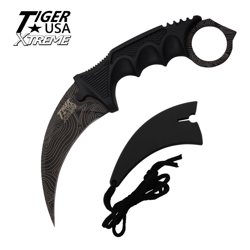 Karambit Ranger- Black Damascus Fixed Blade Black Neck Knife with Sheath, , Panther Trading Company- Panther Wholesale