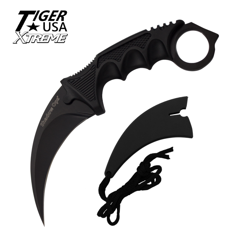 Karambit Ranger-Black Fixed Blade Neck Knife with Sheath, , Panther Trading Company- Panther Wholesale