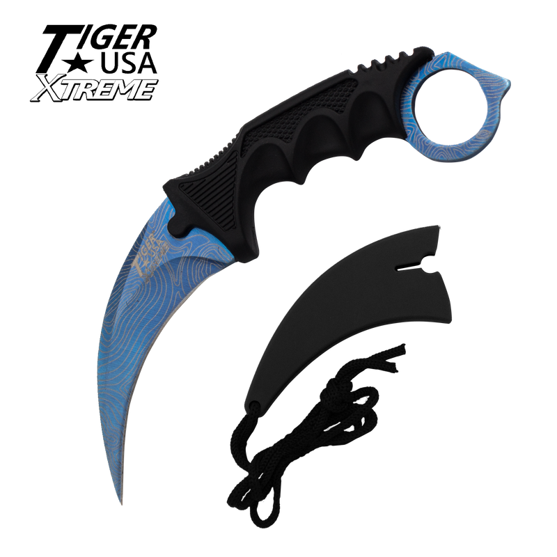 Karambit Ranger- Blue Damascus Fixed Blade Karambit Neck Knife with Sheath, , Panther Trading Company- Panther Wholesale