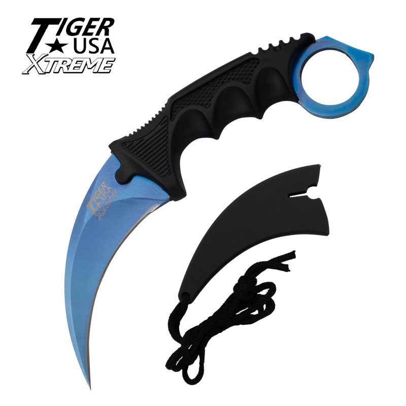 Karambit Ranger- Blue Fixed Blade Neck Knife with Sheath, , Panther Trading Company- Panther Wholesale