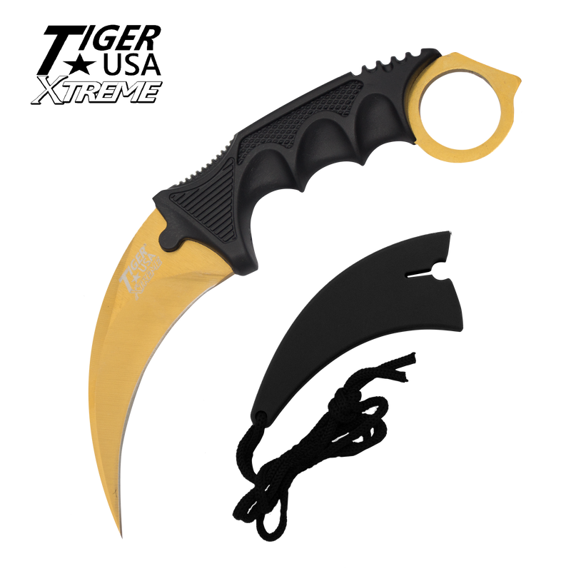 Karambit Ranger- Gold Fixed Blade Neck Knife with Sheath, , Panther Trading Company- Panther Wholesale