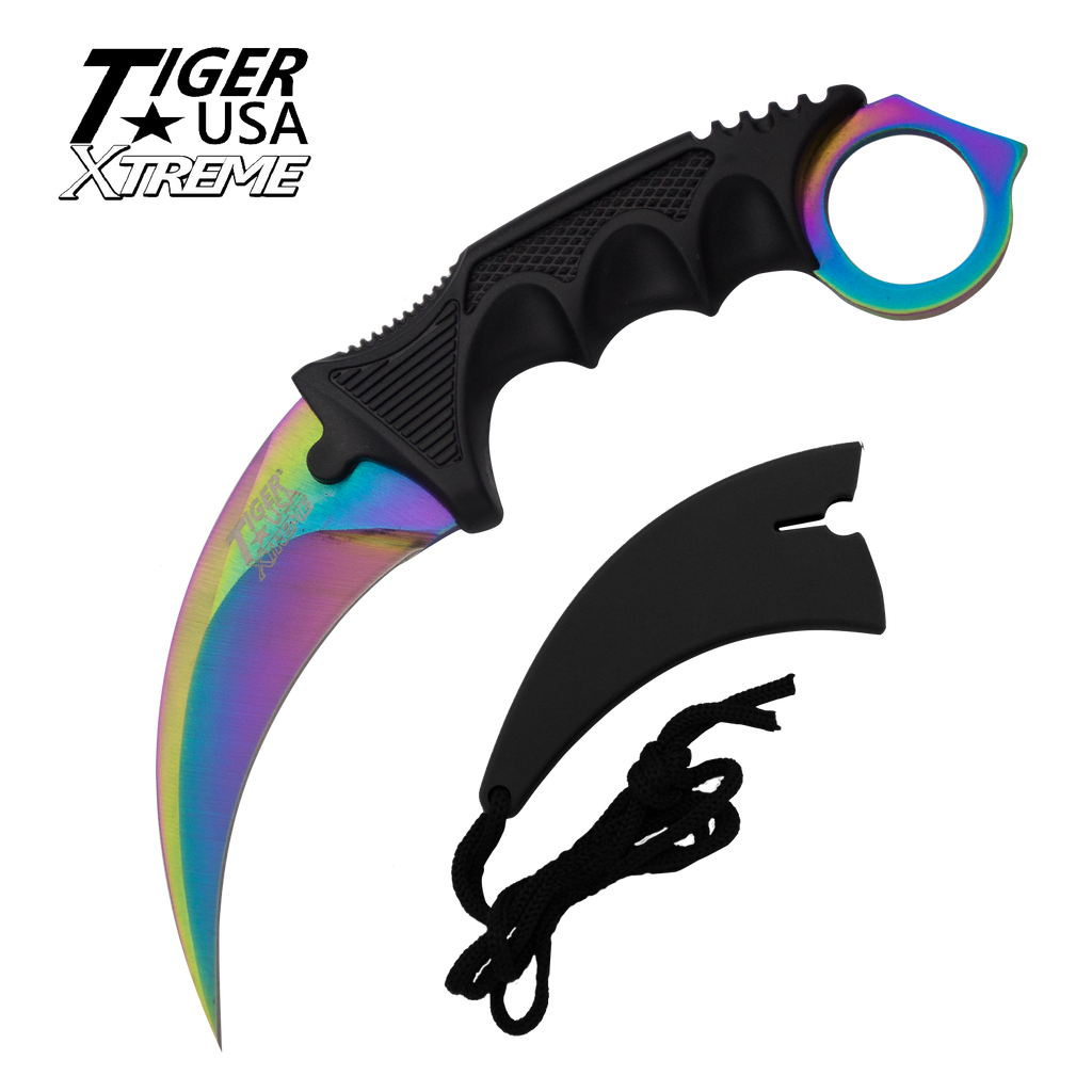 Karambit Ranger- Rainbow Fixed Blade Neck Knife with Sheath, , Panther Trading Company- Panther Wholesale