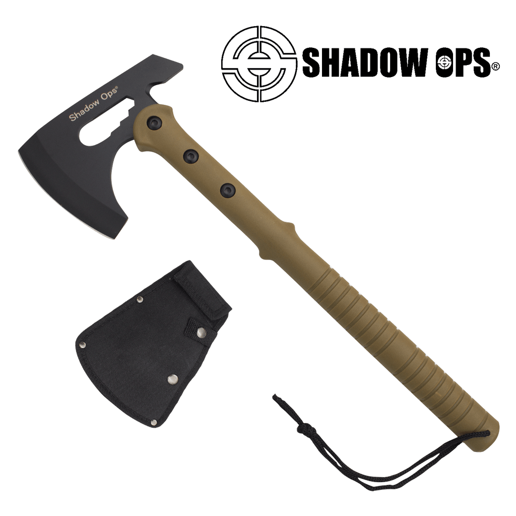 Shadow Ops® Tactical Axe W. Case Beige, , Panther Trading Company- Panther Wholesale