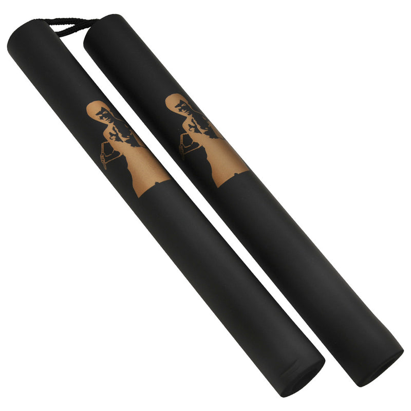 Foam Black Rope Nunchucks (Gold Bruce Lee Print), , Panther Trading Company- Panther Wholesale