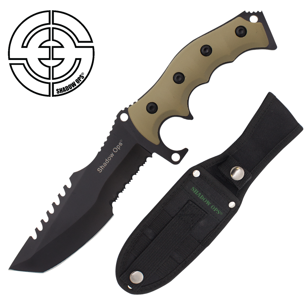 Shadow Ops Tactical Fixed Blade Combat Knife Tanto With Strong Handle, , Panther Trading Company- Panther Wholesale
