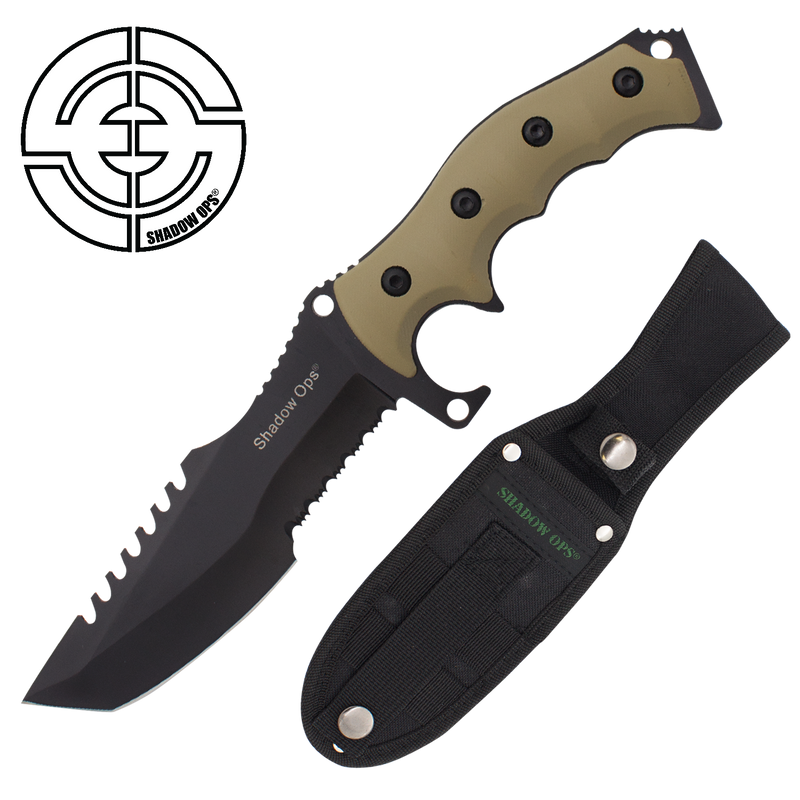 Shadow Ops Tactical Fixed Blade Knife Tanto With Strong Handle