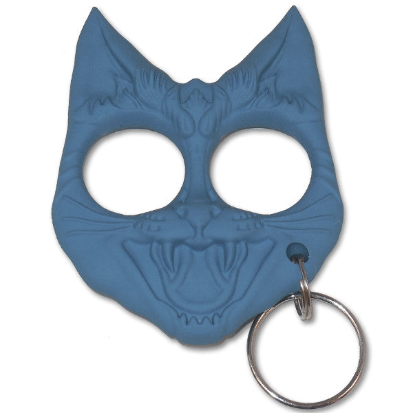 Public Safety Evil Cat Keychain - Royal Blue, , Panther Trading Company- Panther Wholesale