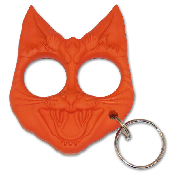 Public Safety Evil Cat Keychain - Orange, , Panther Trading Company- Panther Wholesale