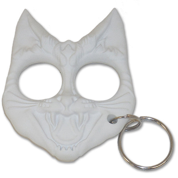 Public Safety Evil Cat Keychain - White, , Panther Trading Company- Panther Wholesale