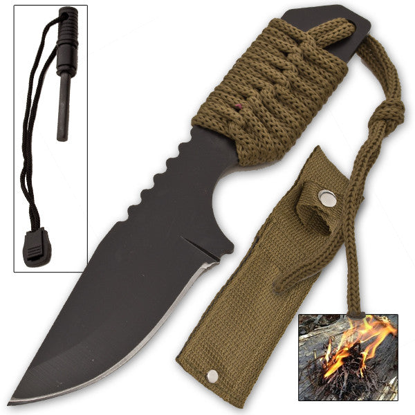 Firestarter Knife With Nylon Sheath and Paracord (Forest Green), , Panther Trading Company- Panther Wholesale