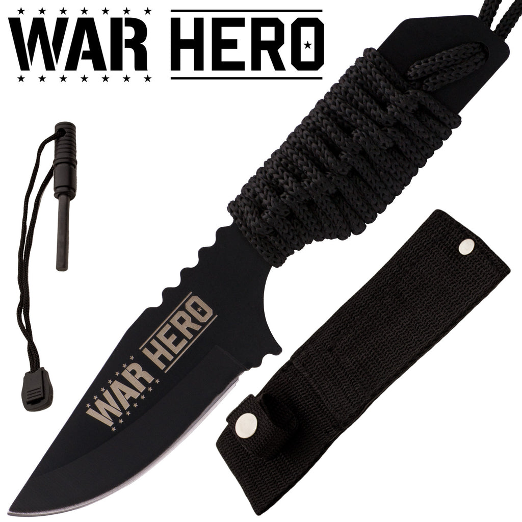 War Hero  Firestarter Knife With Nylon Sheath and Paracord  (Black), , Panther Trading Company- Panther Wholesale