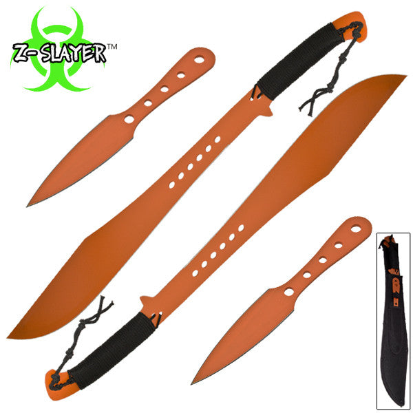 Z-Slayer Dual Sword Throwing Knife (4-PC Set) (Orange), , Panther Trading Company- Panther Wholesale