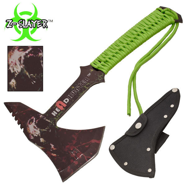 Z-Slayer Headhunter Tomahawk Throwing Axe With Green Paracord, , Panther Trading Company- Panther Wholesale