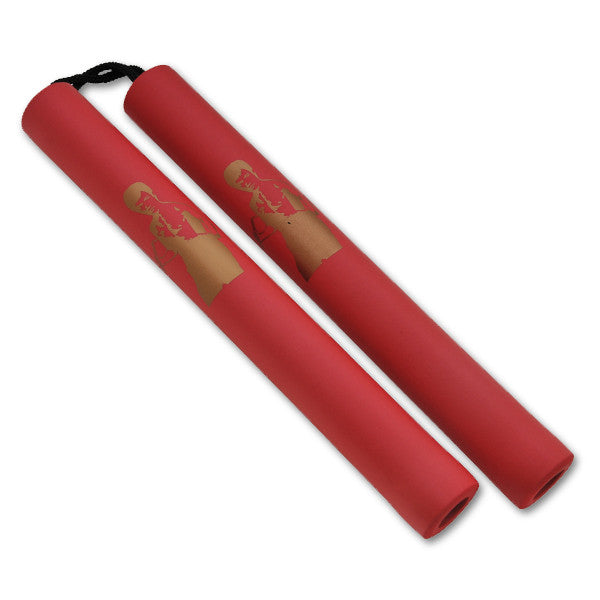 Foam Rope Nunchucks (Red Handle & Gold Bruce Lee Prints), , Panther Trading Company- Panther Wholesale
