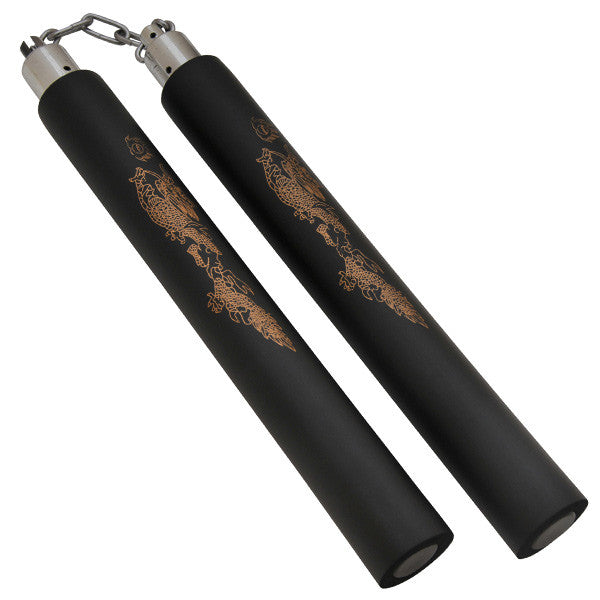 Foam Practice Nunchucks (Black) - Gold Dragon Design W/ Chain, , Panther Trading Company- Panther Wholesale