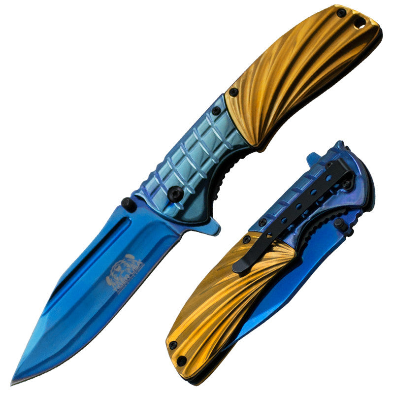 Trigger Assisted Knife - Blue and Gold
