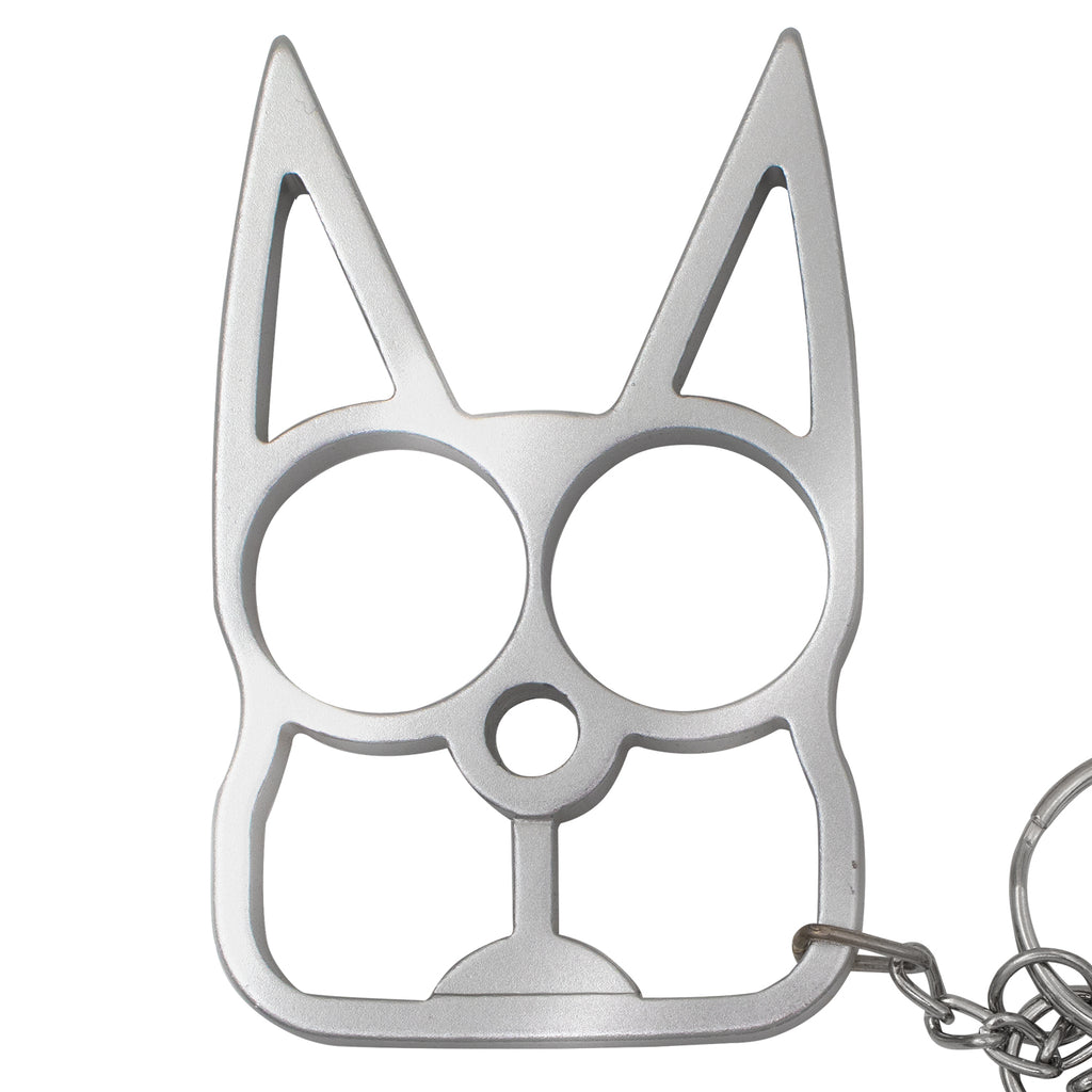 Cat Public Safety Keychain- Silver