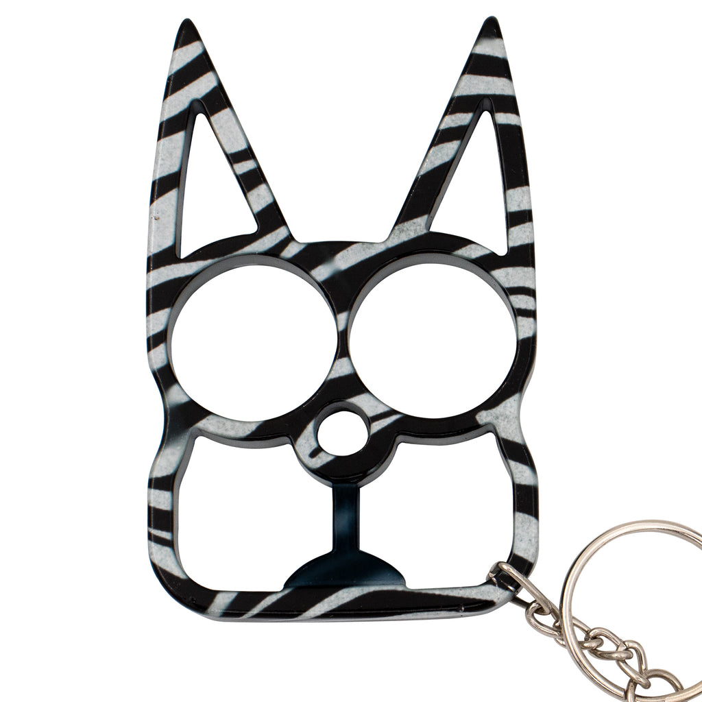 Cat public safety Keychain - Zebra Print