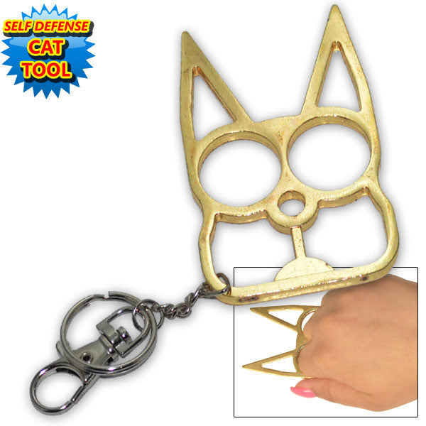 Cat public safety Keychain- Gold, , Panther Trading Company- Panther Wholesale