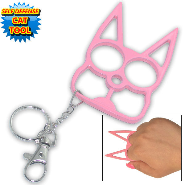 Cat Public Safety Keychain - Pink