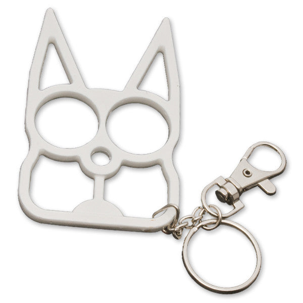Cat Public Safety Keychain- White, , Panther Trading Company- Panther Wholesale