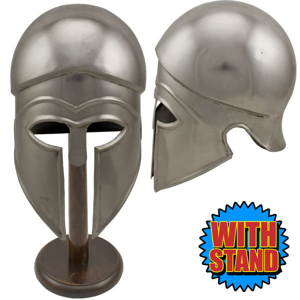 Carbon Steel Corinthian Greek Helmet with stand, , Panther Trading Company- Panther Wholesale