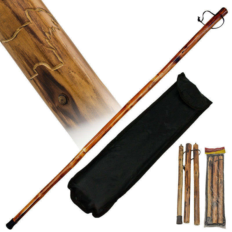 Collapsible Wooden Hiking Cane from Red Deer - Bear - Panther Wholesale