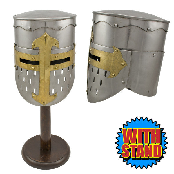 Crusader Great Helmet Wearable Replica w/ Stand, , Panther Trading Company- Panther Wholesale