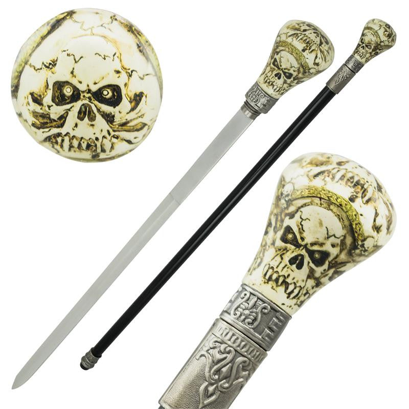 Crazy Skull Resin Cane Hidden Sword - Panther Wholesale