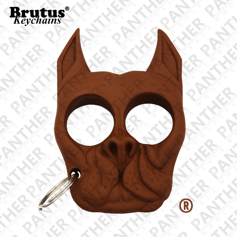 Brutus the Bull Dog - Public Safety Keychain - Brown - Panther Wholesale