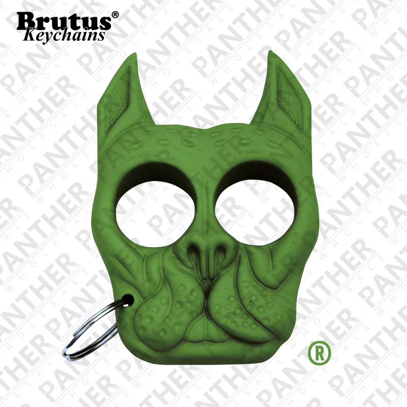Brutus the Bull Dog - Public Safety Keychain - Green, , Panther Trading Company- Panther Wholesale