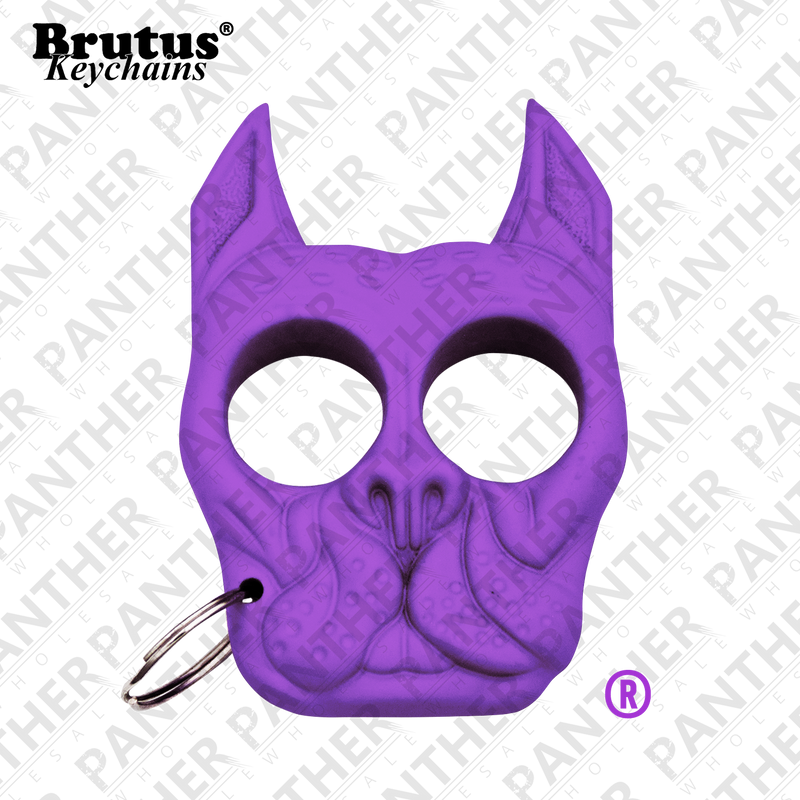 Brutus the Bull Dog - Public Safety Keychain - Purple, , Panther Trading Company- Panther Wholesale
