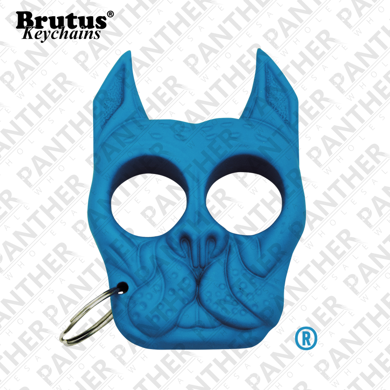 Brutus the Bull Dog - Public Safety Keychain - Light Blue, , Panther Trading Company- Panther Wholesale