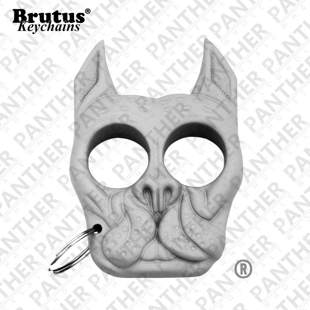 Brutus the Bull Dog - Public Safety Keychain - White, , Panther Trading Company- Panther Wholesale