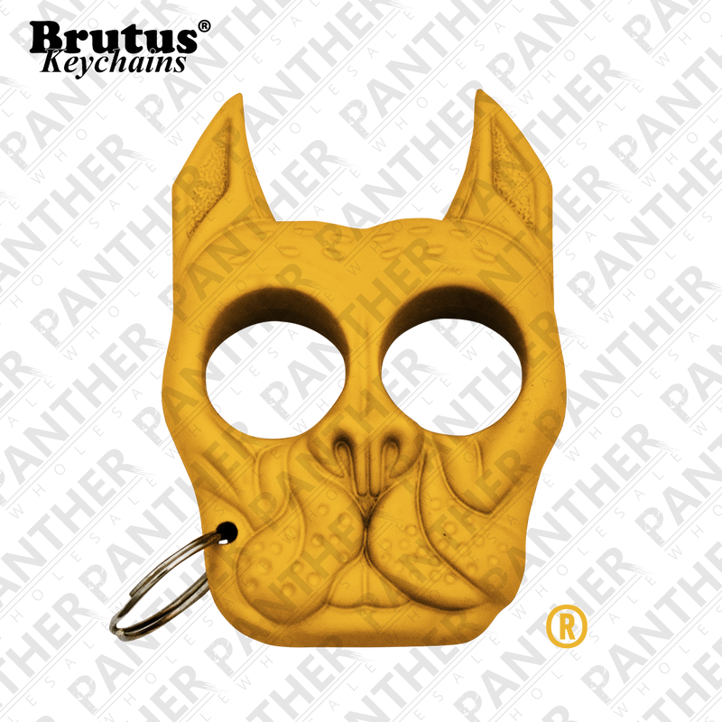 Brutus the Bull Dog - Public Safety Keychain - Yellow, , Panther Trading Company- Panther Wholesale
