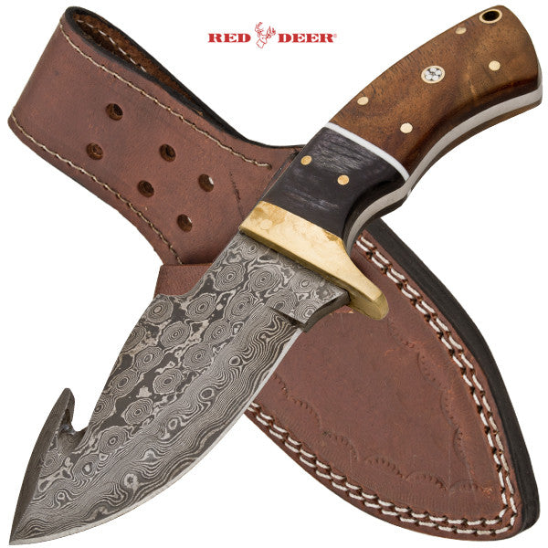 Red Deer Damascus Dagger With Real Leather Sheath Wood & Animal Horn